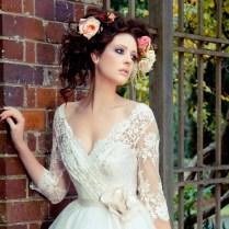 Graceful Wedding Dresses Tea Length Half Sleeves V