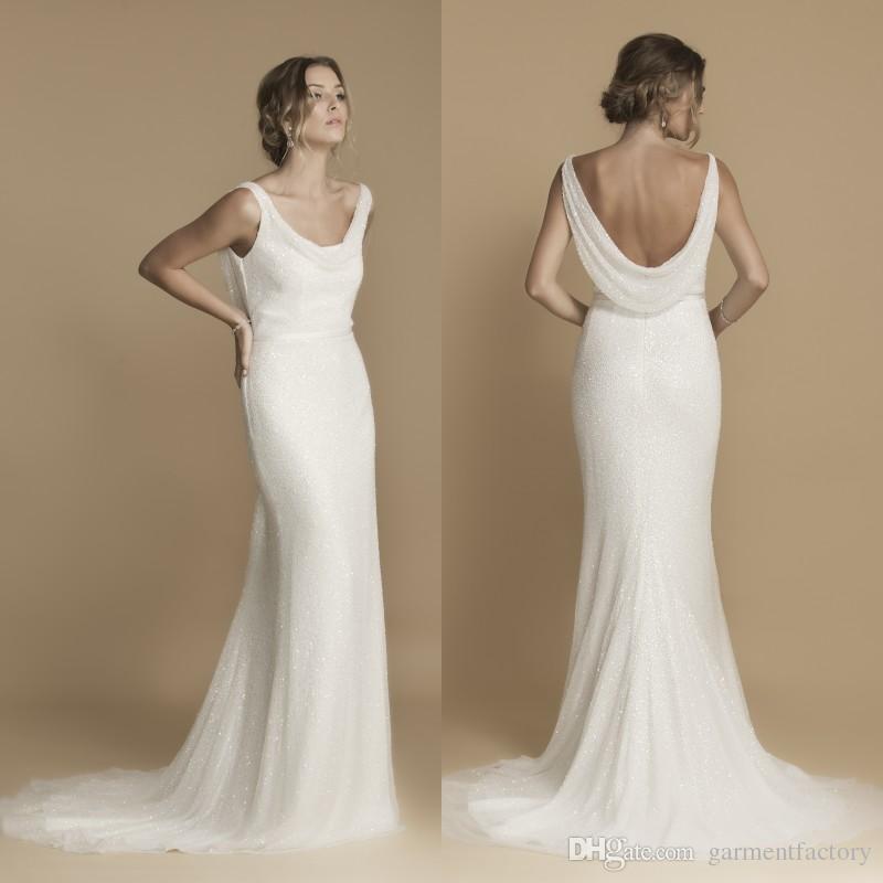 Greek Goddess Cowl Back Wedding Dress Fall 2016 Mermaid