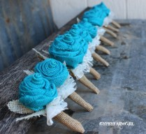 Gypsyfarmgirl Turquoise Burlap And Lace Wedding Bouquets And A