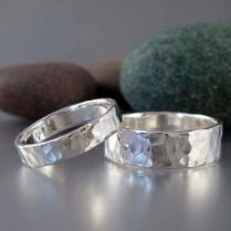 Hammered Sterling Silver Wedding Band