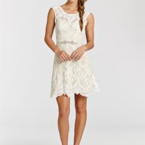 Ivory Lace Over Champagne Charmeuse Short Dress Sheer Bateau