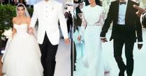 Kim Kardashian Wedding Dresses To Kanye West, Kris Humphries