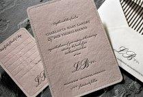 Light Pink And Black Romantic Letterpress Wedding Invitation