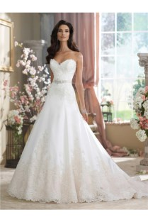 Line Strapless Sweetheart Satin Lace Wedding Dress With Crystals Sash