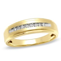 Men's 1 10 Ct T W Diamond Comfort Fit Wedding Band In 10k Gold