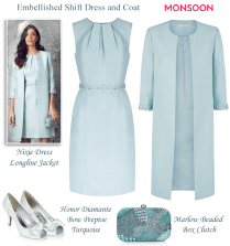 Monsoon Light Blue Beaded Shift Dress And Matching Coat Modern