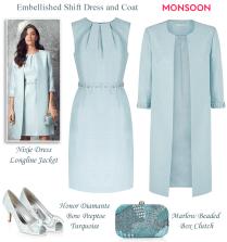 Monsoon Light Blue Beaded Shift Dress And Matching Coat Modern