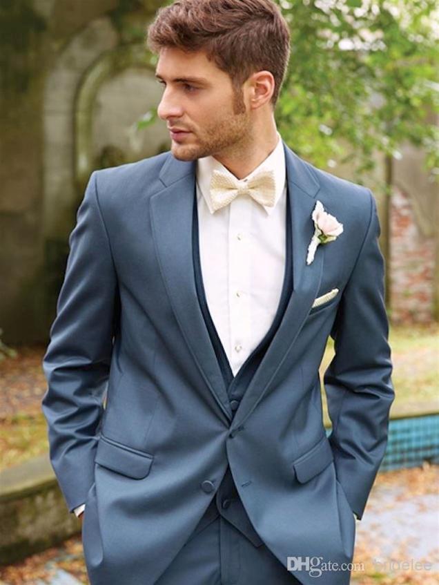 One Button Royal Blue Groom Tuxedos Best Man Peak Lapel Groomsmen