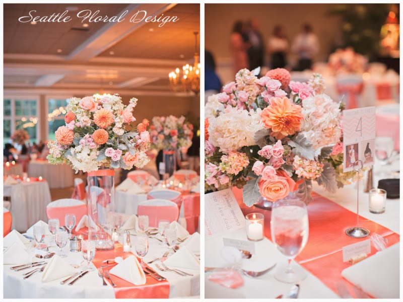 Coral And Grey Wedding Centerpieces