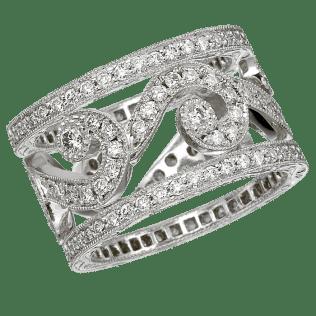 Platinum Diamond Wedding Band With Swirl Design And Diamond