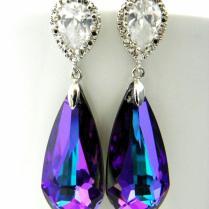 Purple Swarovski Earrings, Heliotrope Crystal, Plum Wedding, Post