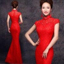 Red Lace Floor Length Traditional Chinese Wedding Dress