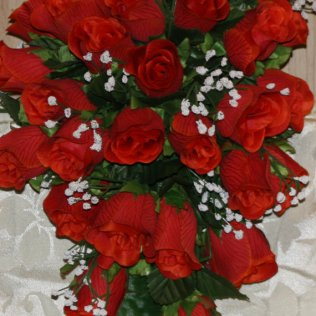 Red Rose Cascading Bridal Bouquet 12 Piece Set By