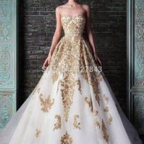 Royal Blue And Gold Wedding Dress