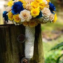 Royal Blue And Yellow Wooden Bouquet For Wedding And Home