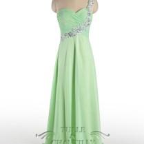 Sage Pastel Green Long Mother Of Bride Dress With One Shoulder