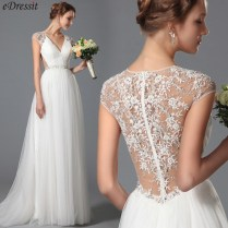 Simple Lace Embroidery Wedding Dress
