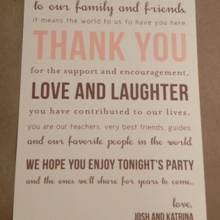 Thank You Card Printed Place Setting Welcome Basket Wedding Recep…