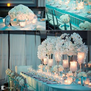 Tiffany Blue Themed Wedding, White Orchid Centerpiece, White