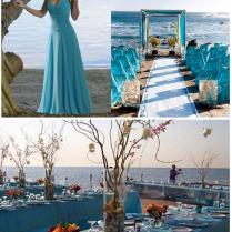 Turquoise Decoration For A Wedding On The Beach