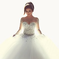 Vestido De Noiva Casamento Sheer Long Sleeve Princess Ball Gown