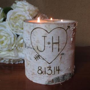Wedding Birch Bark Candle Holder Personalized Rustic Wedding