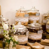 Wedding Cookie Bar Instead Of A Candy Bar With Lace And Burlap