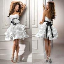 White Organza Ball Gown Black Ribbon 2015 Design Sexy Short