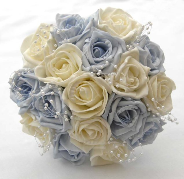 Yellow And Light Blue Wedding Bouquets