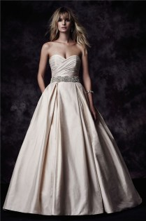 Gown Sweetheart Low Back Champagne Taffeta Ruched Wedding Dress