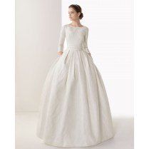 3 4 Sleeves Ball Gown Boat Neckline Beaded Wedding Dress