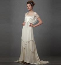 Elegant Wedding Dress Batwing Sleeve Square Neck Back Zipper