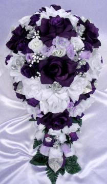 Free Shipping 21 Pcs Wedding Silk Flower Bouquet Bridal Package
