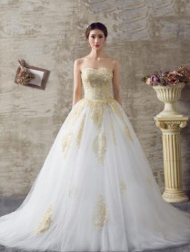 Free Shipping Ball Gown Red Gold Lace Appliques Wedding Dress Off