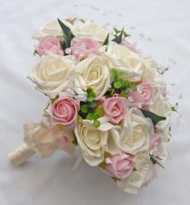 Ivory & Pink Rose Bridal Bouquet With Light Catching Crystals