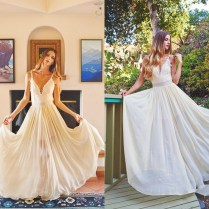 2015 Romantic Beach Wedding Dresses Spaghetti Strap Flowing