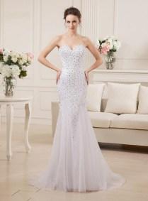 2015 Super Sexy Mermaid Tulle Long Wedding Dresses Floor Length