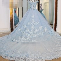 2017 Ball Gown Wedding Dress Ice Cream Blue Cap Sleeve Bridal