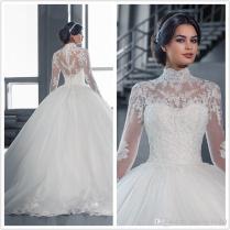 2017 New High Neck Bridal Dress Long Sleeve Muslim Wedding Dresses
