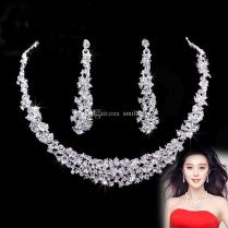 2018 Crystal Bridal Jewelry Set 925 Silver Plated Necklace