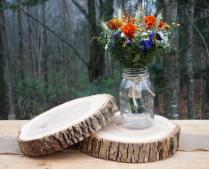 2 Wood Wedding Centerpieces