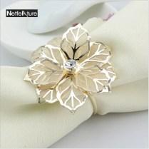 4pcs Lot Fashion Upscale Gold Flower Rhinestone Wedding Napkin