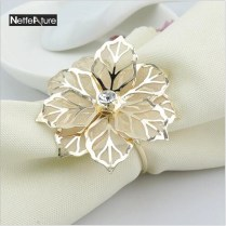 4pcs Lot Fashion Upscale Gold Flower Rhinestone Wedding Napkin
