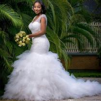 African Style Plus Size Mermaid Wedding Dresses 2018 Sparkly