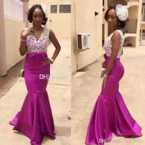 African Wedding Guest Dresses Bridal Outfits Purple Bridesmaid
