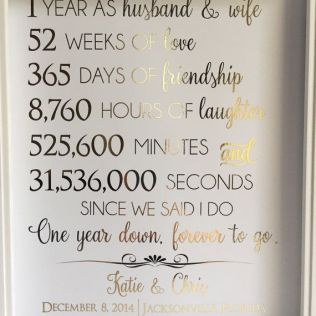 Beautiful 1 Year Wedding Anniversary Gifts For Her B38 In Pictures