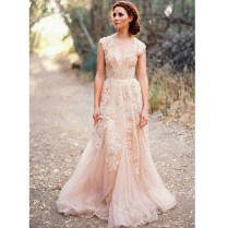 Blush Lace Wedding Dresses 2017 A Line Bridal Gowns Vintage