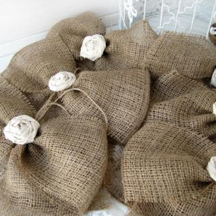 Burlap Bow Rustic Wedding Fabric Rose Set Of 12 Pew Bows Aisle