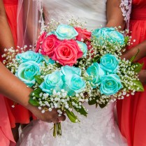 Coral And Turquoise Wedding Bouquets