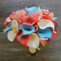 Coral And Turquoise Wedding Flowers